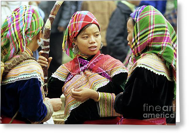 Ethnic Minority Greeting Cards - Flower Hmong Women Greeting Card by Rick Piper Photography