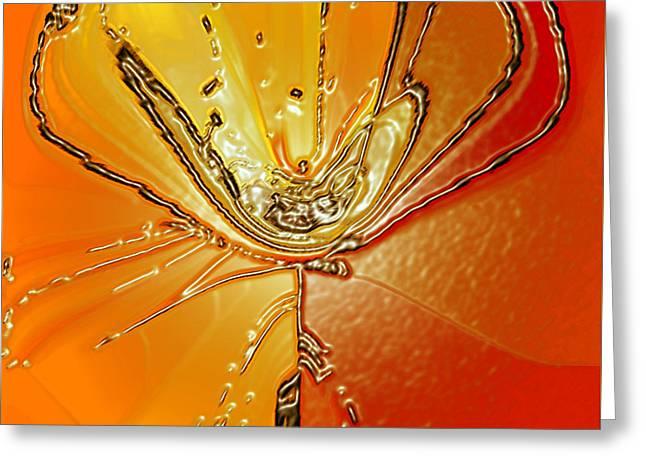 Tangerine Digital Art Greeting Cards - Flower I Greeting Card by Ben and Raisa Gertsberg
