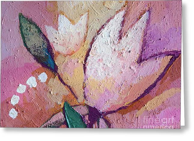 Texture Flower Paintings Greeting Cards - Flower Impasto Greeting Card by Lutz Baar