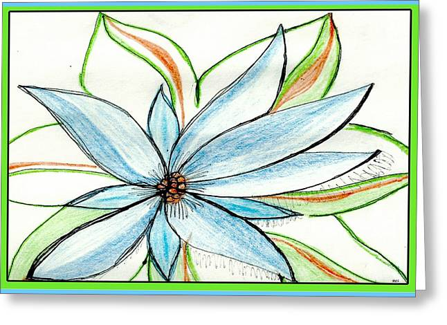 Floral Digital Drawings Greeting Cards - Flower in Blue Greeting Card by Becky Sterling