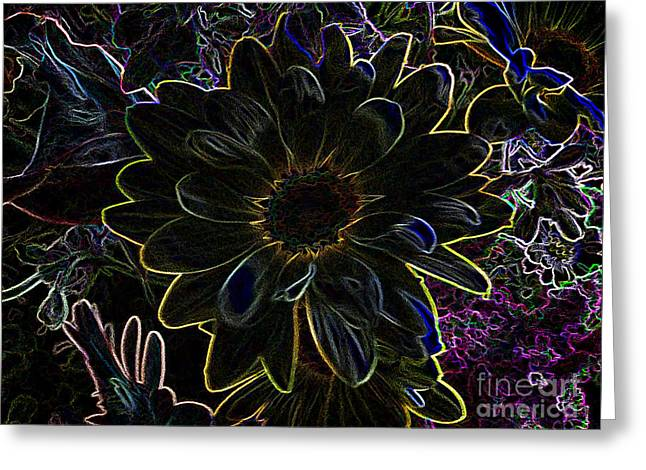 Rose Petals Greeting Cards - Flower In Fireworks Greeting Card by Luther   Fine Art