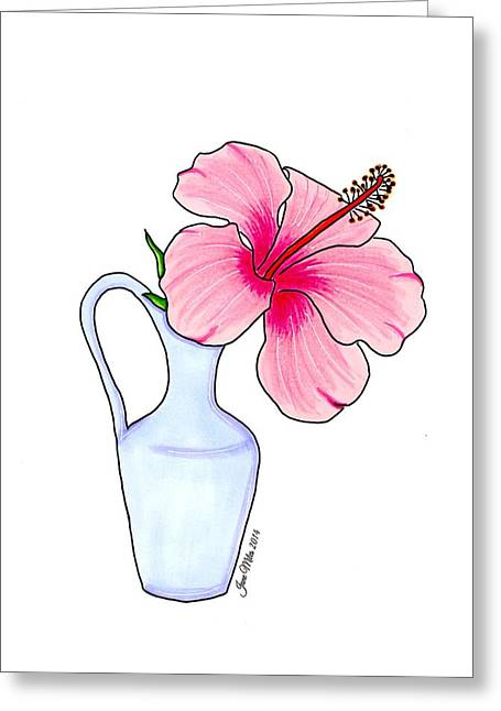 Jugs Drawings Greeting Cards - Flower in jug Greeting Card by Jane Miles