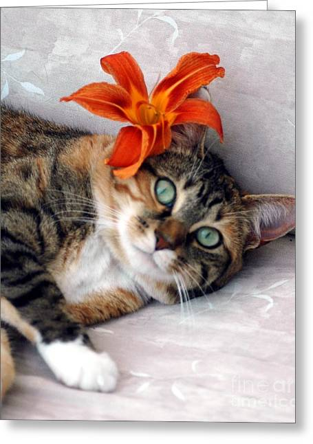 Flower In My Hair Greeting Card by Kathleen Struckle