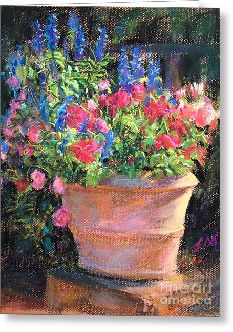 Sunny Pastels Greeting Cards - Flower In Pot Greeting Card by Jieming Wang