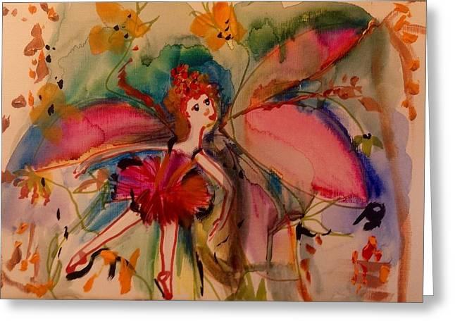Ballerinas Ceramics Greeting Cards - Flower in the rain  Greeting Card by Judith Desrosiers