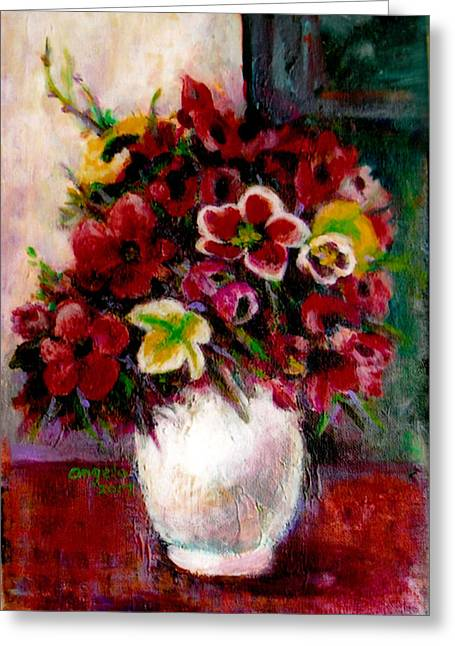 Bloosom Greeting Cards - Flower in Vase Greeting Card by Angela Tsang