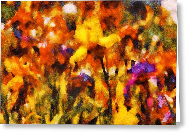 Garden Scene Digital Greeting Cards - Flower - Iris - Orchestra Greeting Card by Mike Savad