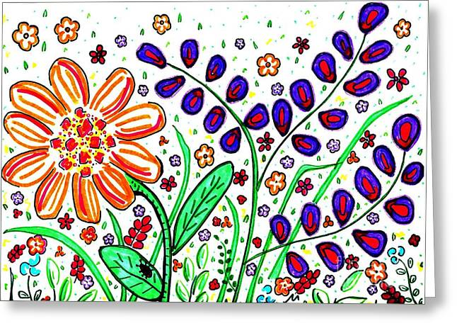 Sarah Loft Drawings Greeting Cards - Flower Joy Greeting Card by Sarah Loft