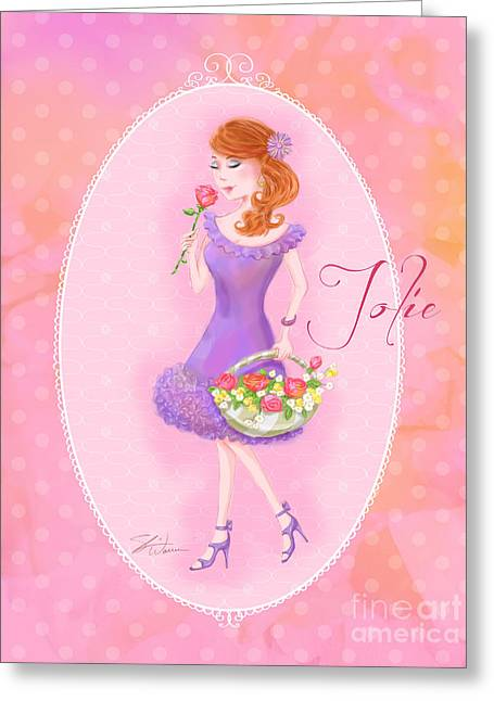 Lady Mixed Media Greeting Cards - Flower Ladies-Jolie Greeting Card by Shari Warren