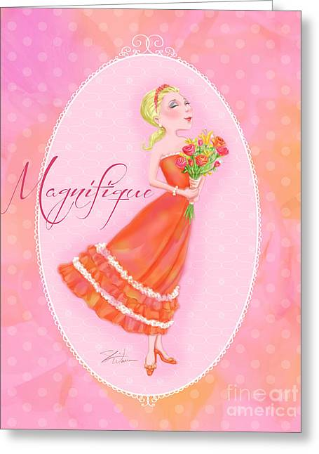 Lady Mixed Media Greeting Cards - Flower Ladies-Magnifique Greeting Card by Shari Warren