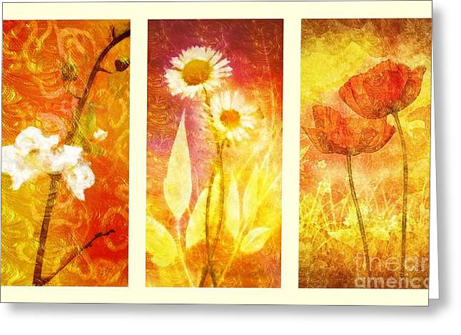 Heat Mixed Media Greeting Cards - Flower Love Triptic Greeting Card by Mo T