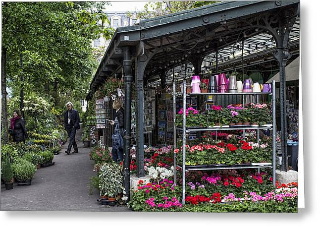 European Flower Shop Greeting Cards - Flower Market in Paris Greeting Card by Nomad Art And  Design