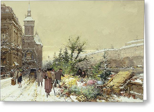 Trader Greeting Cards - Flower Market Marche aux Fleurs Greeting Card by Eugene Galien-Laloue