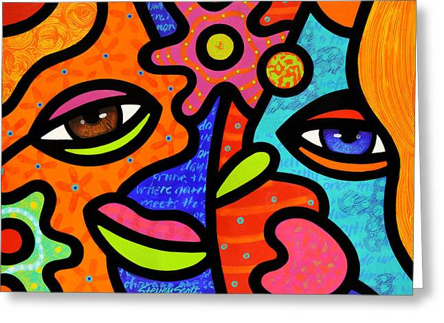 Abstract Faces Greeting Cards - Flower Market Greeting Card by Steven Scott
