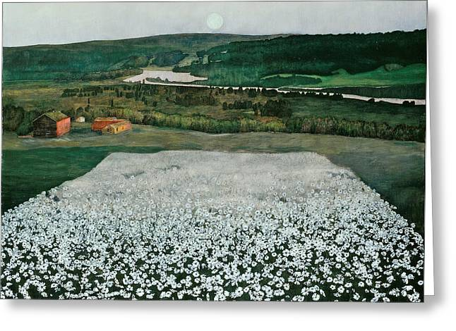 The North Greeting Cards - Flower Meadow in the North Greeting Card by Harald Sohlberg