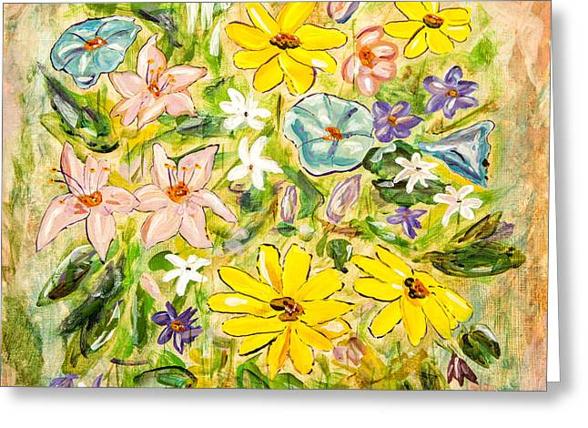 Day Lilly Paintings Greeting Cards - Flower Mixture Greeting Card by Timothy Hacker