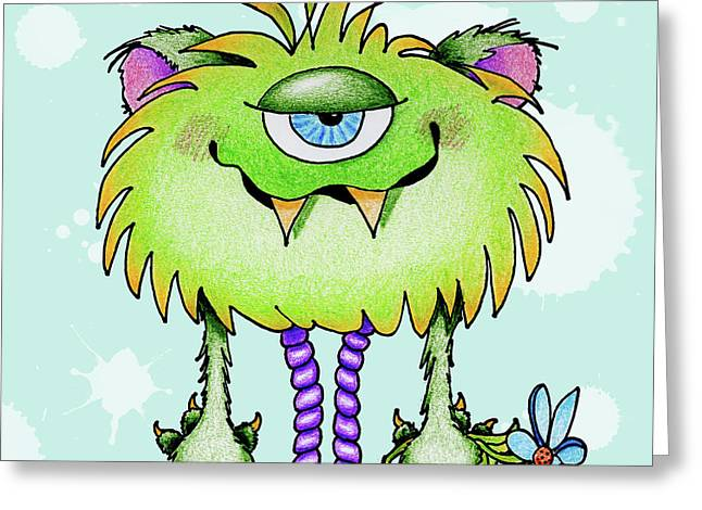 Anniesdoodlebugz Greeting Cards - Flower Monster Greeting Card by Annie Troe