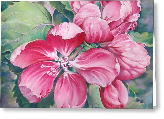 Droplet Paintings Greeting Cards - Flower of Crab-apple Greeting Card by Anna Ewa Miarczynska