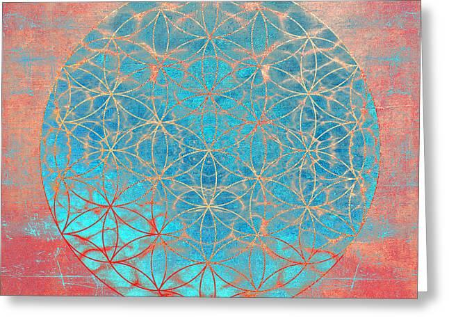 Light Blue Chakra Greeting Cards - Flower Of Life Aqua Orange Greeting Card by Filippo B