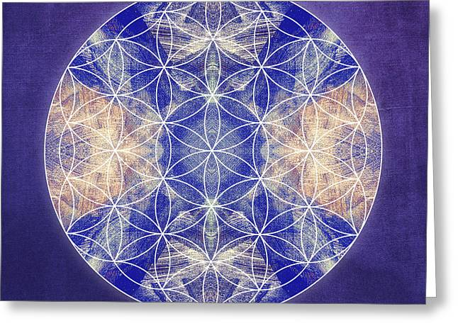 Light Blue Chakra Greeting Cards - Flower of Life Blue Greeting Card by Filippo B