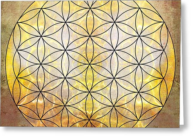 Sacred Digital Greeting Cards - Flower Of Life Gold Greeting Card by Filippo B