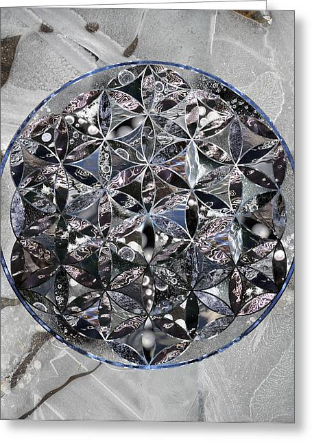 Sacred Geometry Greeting Cards - Flower of Life Ice Greeting Card by Sacred Geometry