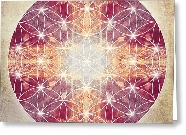 Light Blue Chakra Greeting Cards - Flower of Life Magenta Greeting Card by Filippo B