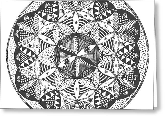 Chi Drawings Greeting Cards - Flower Of Life Greeting Card by Nick Osipczak
