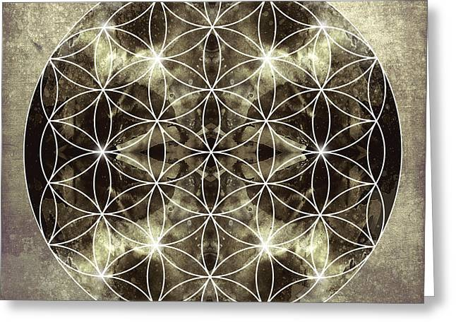 Flower Of Life Greeting Cards - Flower of Life Silver Greeting Card by Filippo B