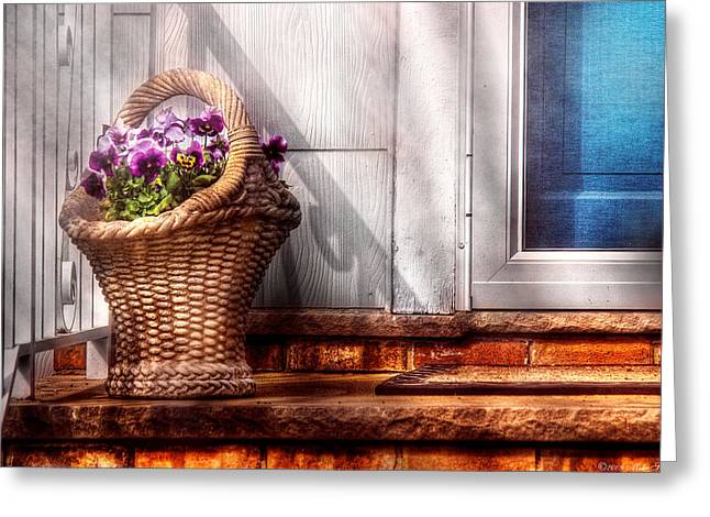 Flower - Pansy - Basket Of Flowers Greeting Card by Mike Savad