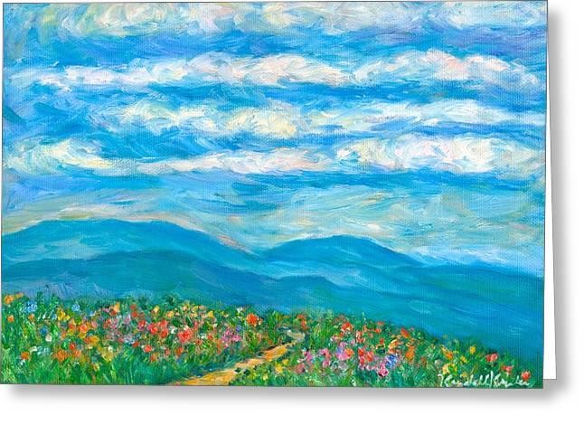 Kendall Kessler Greeting Cards - Flower Path to the Blue Ridge Greeting Card by Kendall Kessler