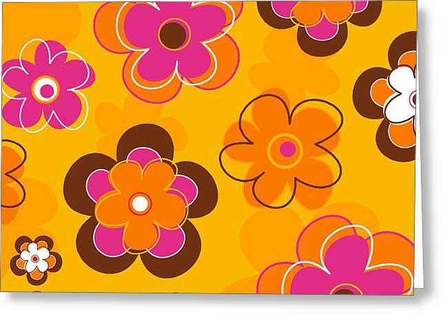 Juvenile Paintings Greeting Cards - Flower Pattern 2 Greeting Card by Esteban Studio
