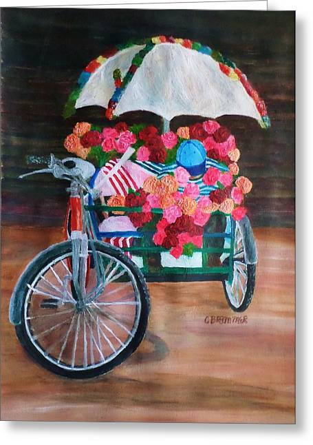 Traveling Salesman Greeting Cards - Flower Peddler Greeting Card by Christy Saunders Church