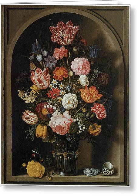 Master Piece Greeting Cards - Flower Piece Greeting Card by Ambrosius Bosschaert The Elder