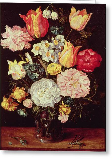 """forget Me Not"" Greeting Cards - Flower Piece Greeting Card by Pieter the Younger Brueghel"