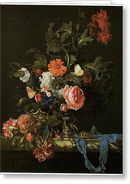 Master Piece Greeting Cards - Flower Piece Greeting Card by Willem Van Aelst
