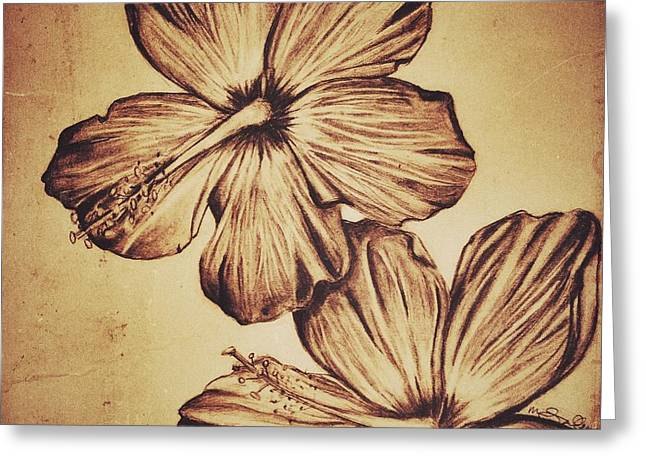 Floral Digital Drawings Greeting Cards - Flower Play 2 Greeting Card by Marenda Smith