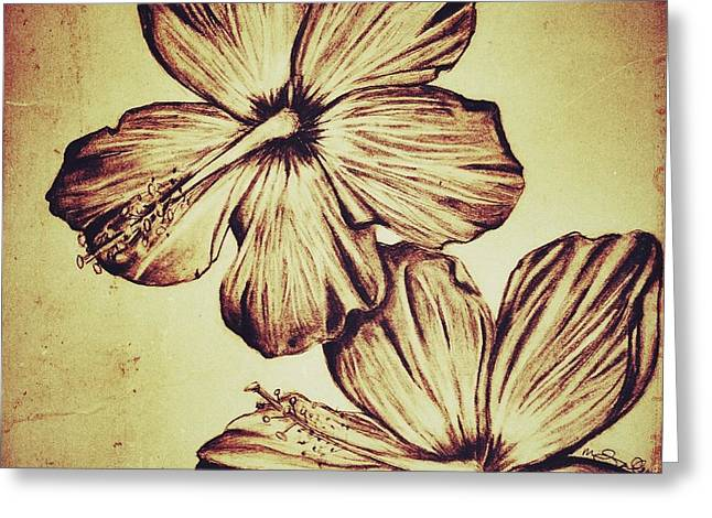 Floral Digital Drawings Greeting Cards - Flower Play 3 Greeting Card by Marenda Smith