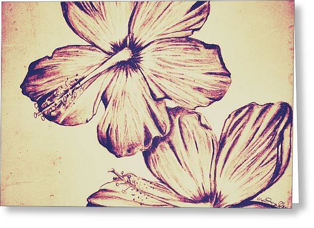 Floral Digital Drawings Greeting Cards - Flower Play 6 Greeting Card by Marenda Smith