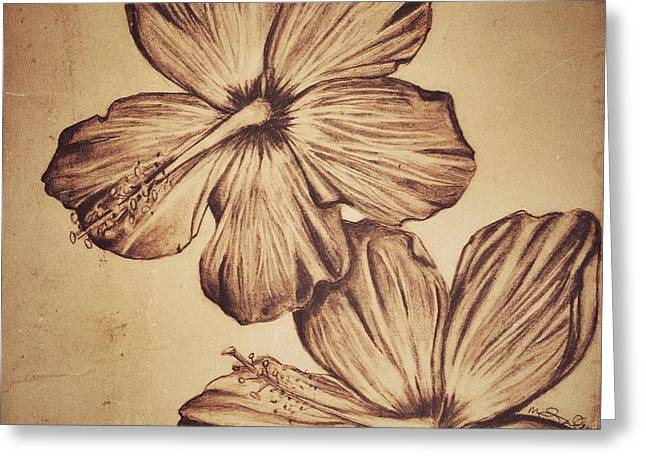 Floral Digital Drawings Greeting Cards - Flower Play1 Greeting Card by Marenda Smith