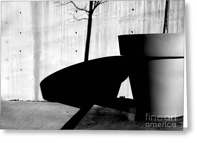 Concrete Planter Greeting Cards - Flower Pot and Shadows Greeting Card by Robert Riordan