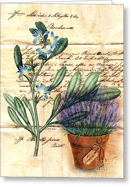 Reflection Harvest Mixed Media Greeting Cards - Flower Pot and Vintage Plant on Paper Greeting Card by Art World