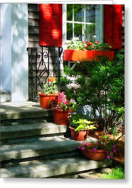 Geraniums Greeting Cards - Flower Pots and Red Shutters Greeting Card by Susan Savad