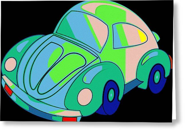 Vw Beetle Greeting Cards - Flower Power Beetle Greeting Card by Florian Rodarte
