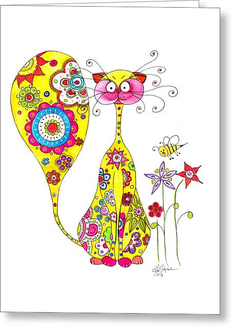 Cat Picture Greeting Cards - Flower power by the cat Greeting Card by Isabel Salvador