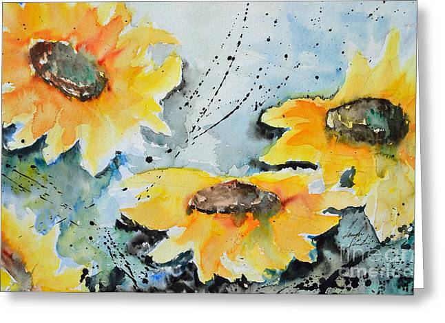 Gruenwald Greeting Cards - Flower Power- Floral Painting Greeting Card by Ismeta Gruenwald