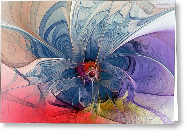 Large Sized Greeting Cards - Flower Power-Fractal Art Greeting Card by Karin Kuhlmann