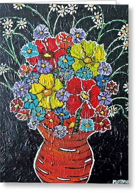 Acylic Painting Greeting Cards - Flower Power Greeting Card by Matthew  James