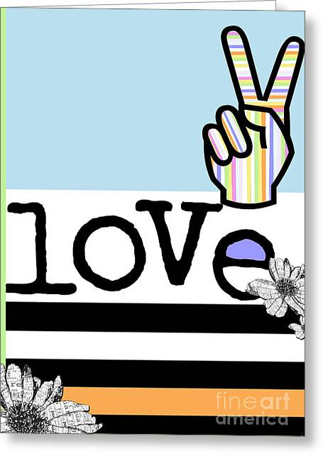 Teen Licensing Greeting Cards - Flower Power Rainbow Love Greeting Card by Anahi DeCanio