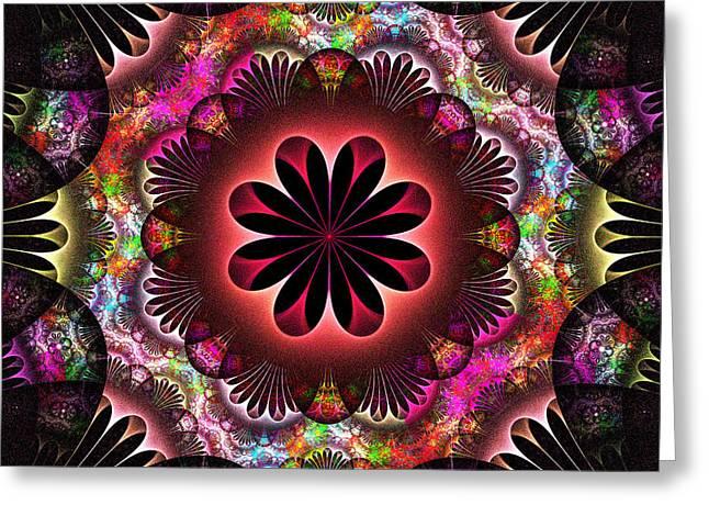 Geometric Shape Greeting Cards - Flower Power Greeting Card by Sandy Keeton